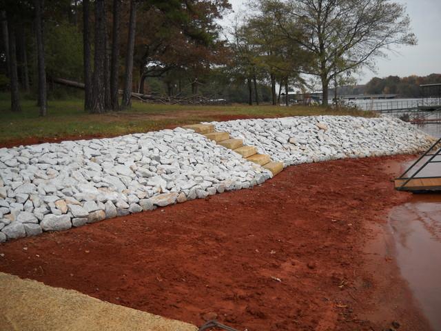 Riprap and rip rap river rock lake norman ctc grading for Design of pond embankment