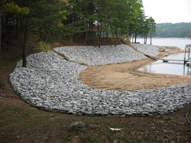 Riprap and rip rap river rock lake norman ctc grading for Installing river rock landscaping